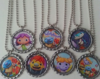 Set of 7 - Wallykazam Themed Bottle Caps Necklaces - Low Shipping!  Party Favors!