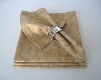 Dinner Size Fabric Napkins - Beige Cotton Napkins, Handmade Cloth Napkins, Table Linens, Eco Friendly Napkins, Set of 4