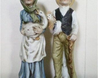 Vintage Porcelain Handpainted Figurines Farmer Couple