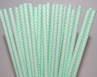 Mint Green Chevron Paper Straws - 25/Pack