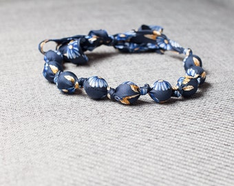 Silk fabric beaded necklace (18)