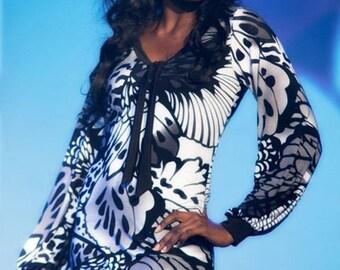 Black white print dress, shift tie neck bishop sleeve womens dress, de almeida designs