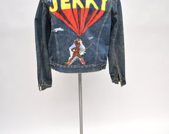 vintage LEVIS denim jacket jean 1960s 1970s size 40 JERRY custom painted african warrior black power