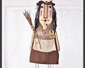 Primitive Folk Art Whimsy Halloween Witch Hag Doll Fiona with Broom Witch Is Why