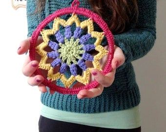 6 inch Crochet Mandala Dreamcatcher Lace Doily Wall Art Hanging in Bright Spring Colors, Unique Boho Hippie Home Decor