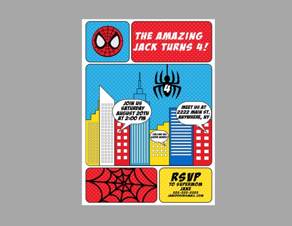 Spiderman birthday party invitation spiderman party theme comic il570xn stopboris