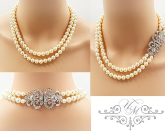 Wedding Jewelry Double Strands Swarovski Pearl Necklace Bridal Necklace Bridesmaids Necklace Vintage Rhinestone Necklace - JANICE