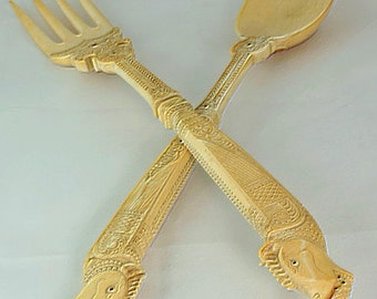 Faux Ivory:  Faux Ivory Spoon and Fork, faux ivory cutlery, vintage cutlery, 1930s