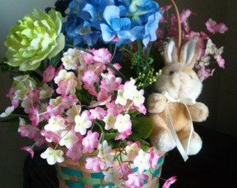 Easter Flower Basket with Butterfly and Bunny, Soft Floral Colors, Easter Floral, Hydrangea Flowers, Peony, Silk Floral, Faux Flower Basket
