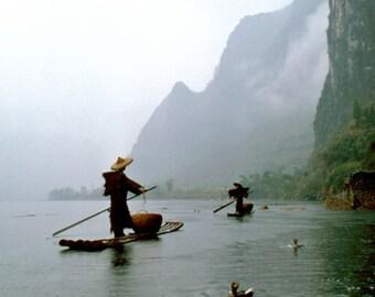 Fishing in the rain with cormorants, Yangshuo, Li River, China. Fine Art photography print. 5 x 7 inches