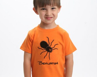 Boys Spider Shirt with Giant Tarantula and Embroidered Name