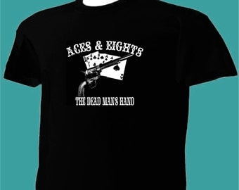 Aces and Eights T-Shirt Old Wild West Dead Man's Hand A & 8