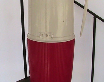 Vintage Red Thermos Original  Red and Beige1970s Camping Accessories Picnic or Lunch