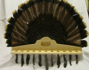 Engraved Turkey Fan And Beard Taxidermy Mounting Plaque
