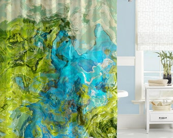 Abstract Shower Curtain Contemporary Bathroom Decor Green And Aqua