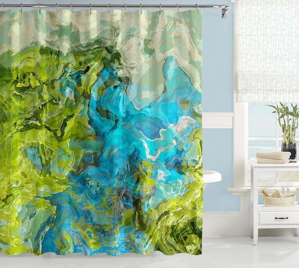 abstract shower curtain contemporary bathroom decor green