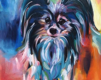 "SAMPLE 16x12 Custom Pet Portrait of ""Trudy"" the Papillon (SOLD)"