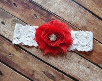 Red Garter, Bridal Garter, Ivory Lace Wedding Garter, Crystal Garter, Romantic Wedding, Red Wedding