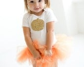 Baby Girl Fall Outfit - Thanksgiving Outfit - Fall Tutu Outfit - Thanksgiving Outfit - Toddler Autumn Outfit - Gold Pumpkin Outfit