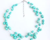 Paper bead layered bridesmaids necklace in teal. Custom colors available. Sales fight poverty in Africa