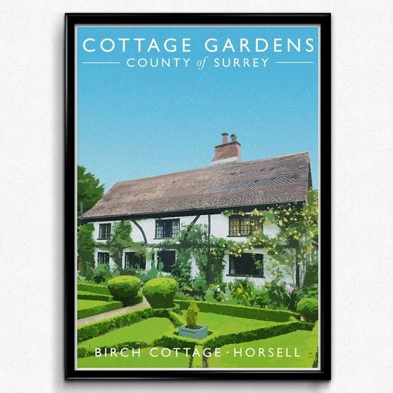 Cottage Garden Vintage Style Travel Print