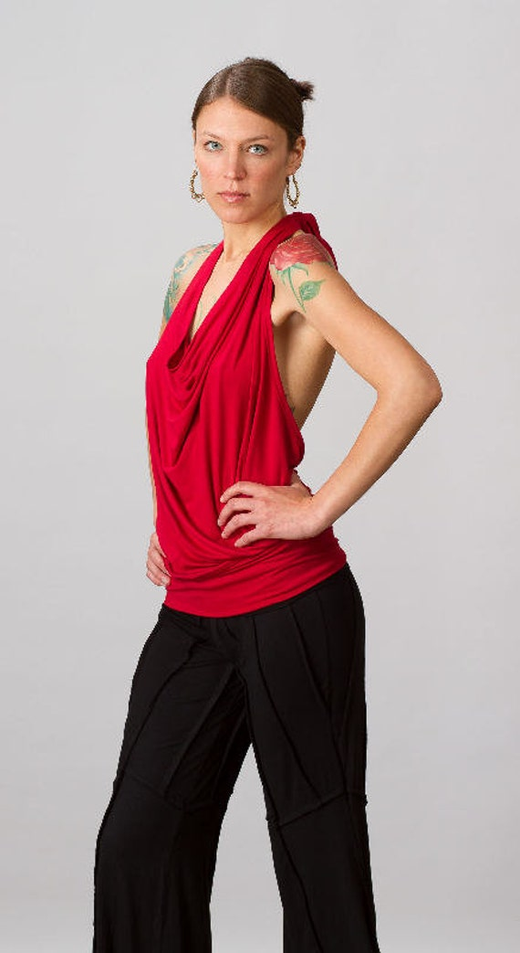 Cowl Neck Backless Halter Top in Red for Womens Festival Wear Yoga Clothing Wholesale