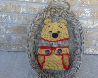 Winnie the Pooh hat and diaper cover! An adorable photo prop for your baby boy or girl!