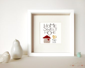 Wedding Gift Personalized - gift New home - Home sweet home - jute - Paper sculpture 3D with heart gold-leaf - Framed with glass