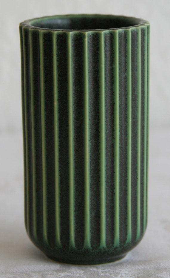 lyngby porcelain ribbed vase green glaze danish design. Black Bedroom Furniture Sets. Home Design Ideas