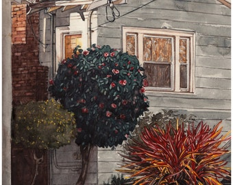 Neighborhood near Emeryville, Original watercolor painting on paper 13 x 17 inches