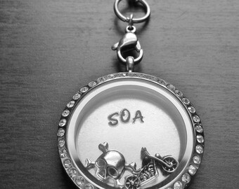 SOA Motorcycle Themed Floating Locket-Includes Large Stainless Steel Locket, Charms, Window Plate, & Chain-Gift Idea
