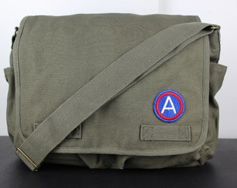 Vintage School Messenger Bag with Embroidered Army Patch