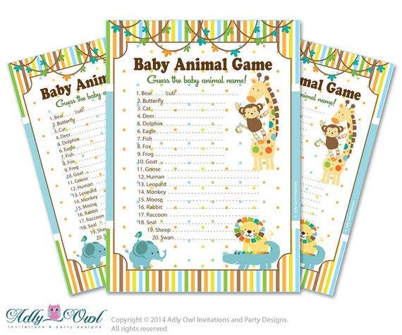 Baby Shower Game Name The Baby Animal: Boy Jungle Baby Animal Game Guess Animals Printable Card For