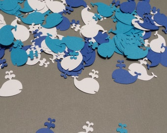Hand punched whale confetti- 150 blue, bright blue and white whales- nautical theme birthday/whale baby shower/whale embellishment