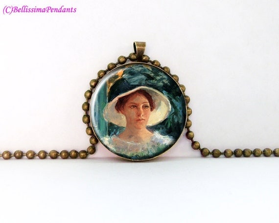 Young Woman in Green, Outdoors in the Sun, Mary Cassatt, 1 in. 25.4 mm necklace, pendant, glass jewelry, art, impressionism, no 81