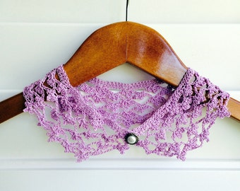 Mauve Crocheted Peter Pan Collar, Necklace For Her, Gift for Her, Gift Ideas, For Mom, AtelierMariaBonita