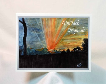"""Original Art Blank Notecards, Note Cards,  """"Mary's Marshview At Sunset,""""  Watercolor"""