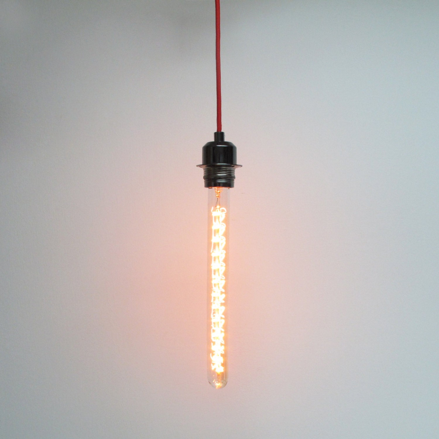 Long Tubular Edison Pendant Lamp Metal Lamp Socket Hanging