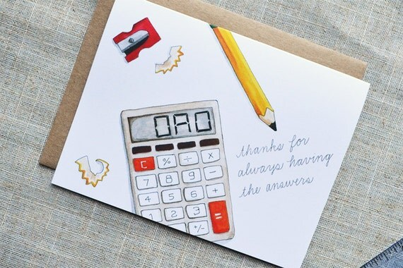 Dad Thanks For Always Having The Answers Calculator Card. Sweet And Smart Father's Day Card. Hand-Painted Watercolor Illustration.