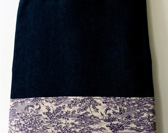 Purple Pink Matsu Garden Vintage Japanese Kimono Silk and Denim Handmade Tote Bag