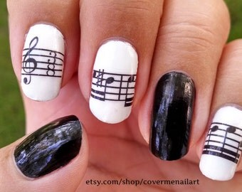 Musical - Water Slide Nail Decals with music notes