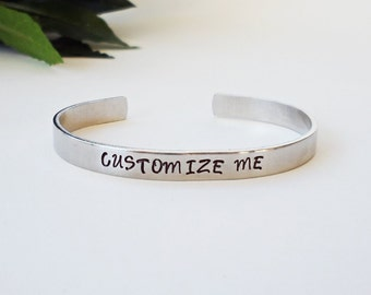 Custom Bracelet Cuff - Personalized Bracelet - Custom Cuff - Handstamped Cuff - Gift for Mom - Aluminum Cuff - Custom Bracelet
