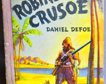 Vintage Life and Adventures of Robinson Crusoe by Daniel Defoe, 1938. Little Big Classics. Old Books. Vintage Children's Books. 1930s.