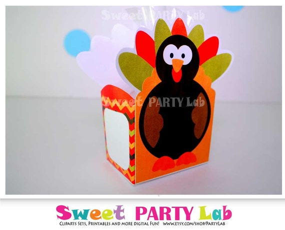 10 Last Minute Thanksgiving Crafts: I know you may not have time lately to plan your kid's little gifts or party favors for Thanksgiving but don't worry help is on the way! here you have some last minute ideas for Thanksgiving by Mariapalito www.partymazing.com Printable Thanksgiving Box, Turkey Favor Box - Turkey Printable PDF Box D081