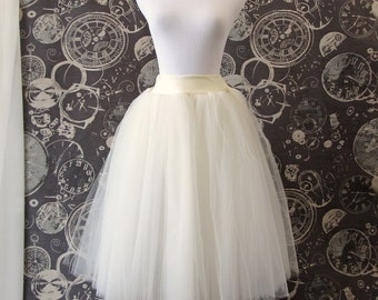 Ivory Tulle Skirt - Adult Tea Length Tutu - Stretch Lycra Waistband Midi Skirt - Crinoline or Petticoat - Custom Size