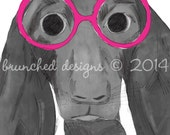 Dog with Hot Pink Glasses Wall Art - 12x8 inches, hand illustrated digital print - funky alternative nursery wall art - puppy print