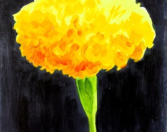 "Inca Gold Marigold Original Botanical Art Acrylic on Board 4""x4"""