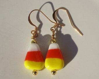 Retro Lampwork Glass Halloween Candy Corn Dangle Earrings