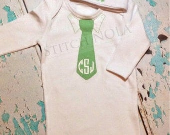 Baby Boy Going Home Outfit - Gown and Cap