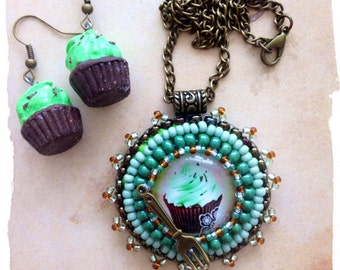 Very cute blue/green cupcake Pendant and Earrings